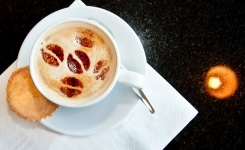 Food, Drink & Hospitality Photography - Cup of frothy Cappuccino, shown for Fablas Cafeteria and Gelitere